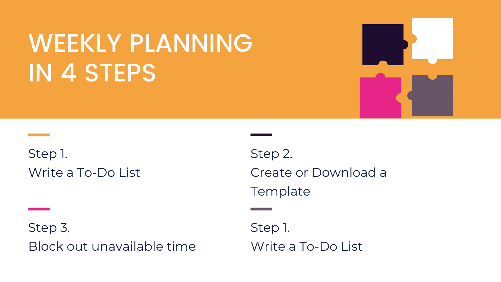 How to create a weekly plan